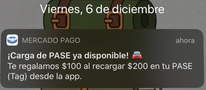MERCADO PAGO: Tag PASE $100 de regalo al recargar $200 (usuarios seleccionados)