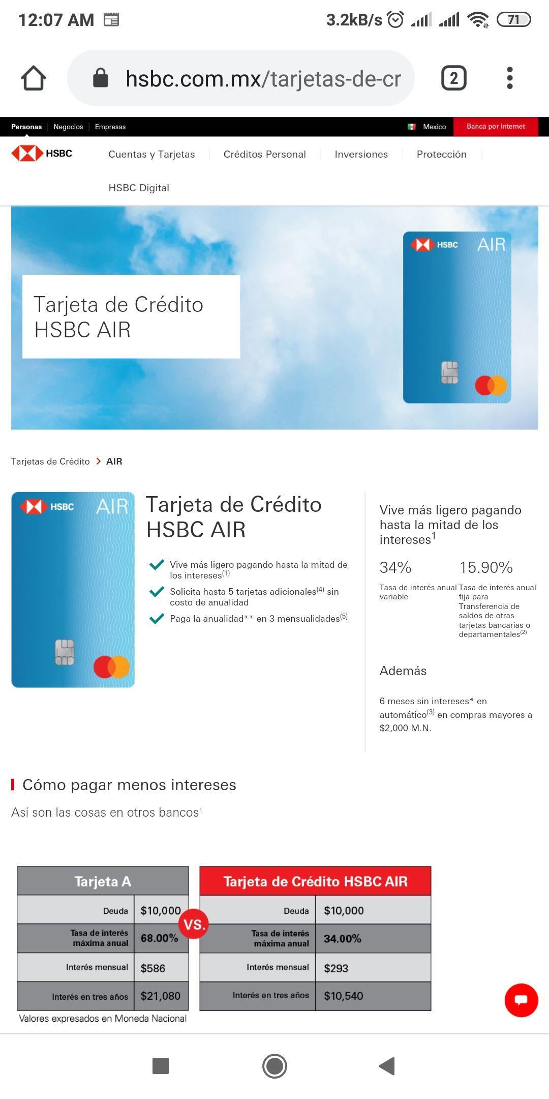 HSBC: Nueva tarjeta de Crédito HSBC Air