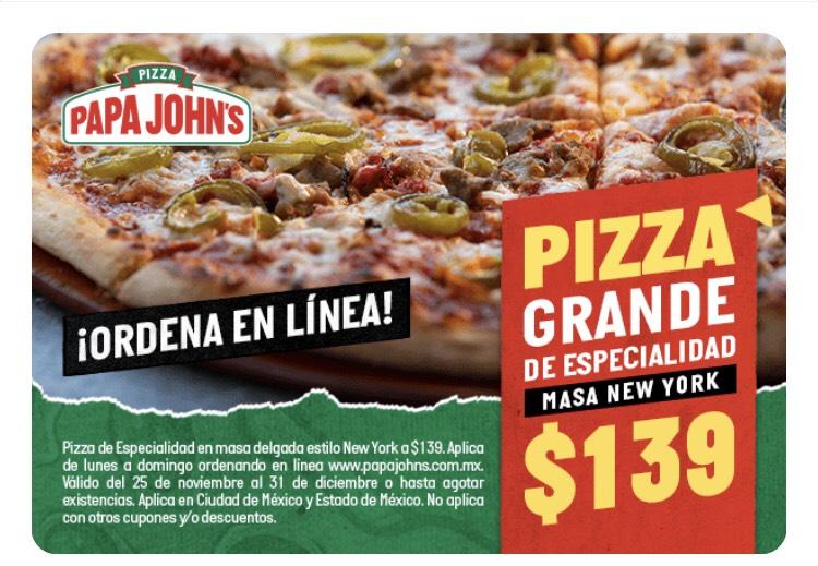 Papa Johns Pizza grande de especialidad masa New York