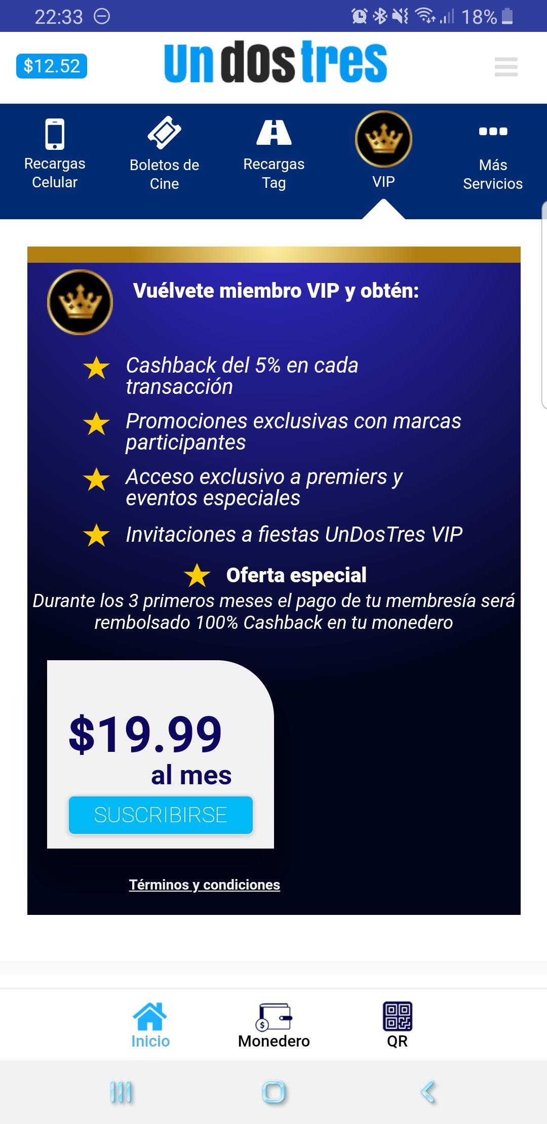 Undostres: Cashback de 5% al registrarte en VIP y los 3 primeros meses pago de membresía rembolsado al 100% en Cashback