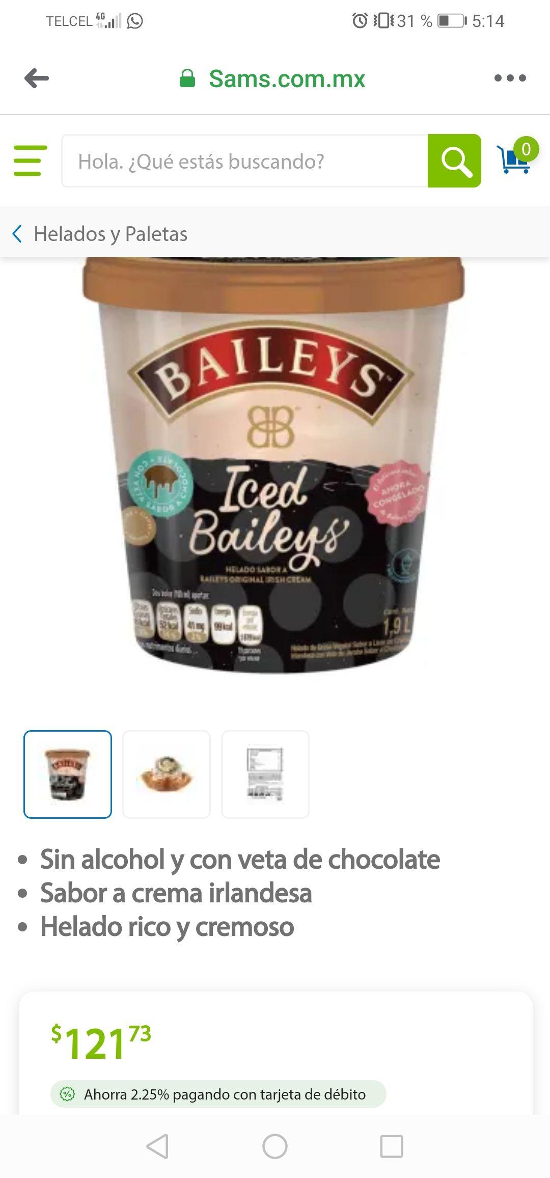 Sam's club: 1.9 lts de helado Baileys