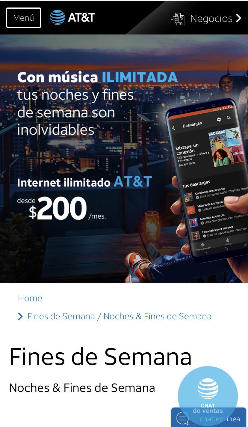 AT&T Noches y fines de semana con internet ilimitado