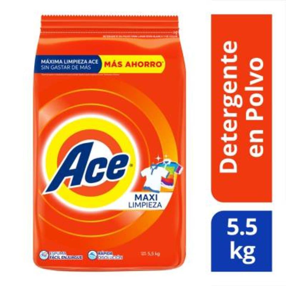 Walmart Súper: Detergente en polvo Ace maxi limpieza 5.5 kg