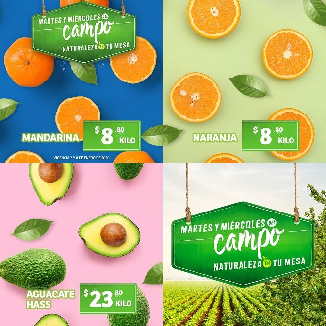 Soriana Híper y Súper: Martes y Miércoles del Campo 7 y 8 Enero: Naranja ó Mandarina 8.80 kg... Aguacate Hass $23.80 kg.