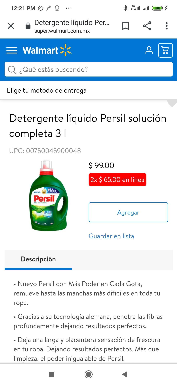 Walmart Detergente Persil de 3 Lts, 2 por $65