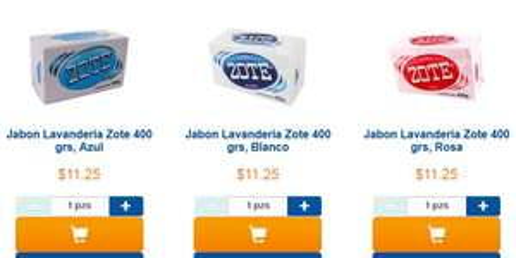 Chedraui (en linea): jabón zote 400gr (azul, blanco, rosa) 11,25 pieza
