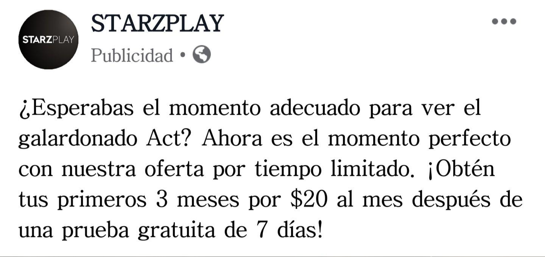 Starzplay: 3 primeros meses de suscripción a $20