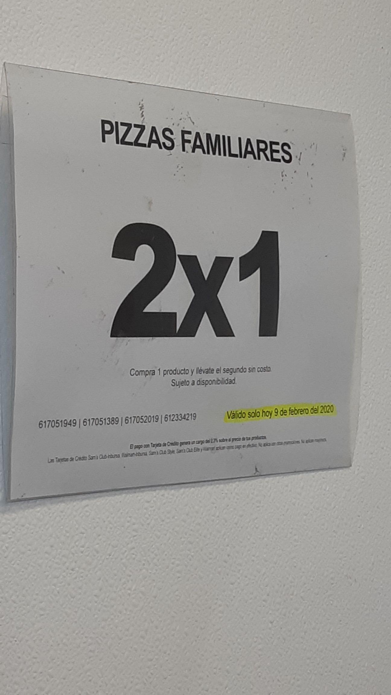 Sam's Club: Pizzas al 2x1