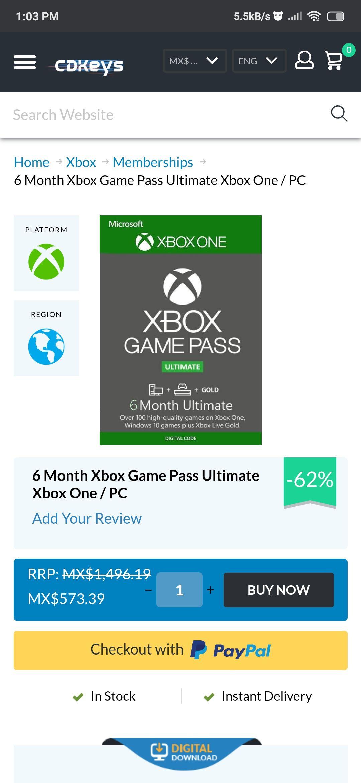 Cdkeys: Game Pass Ultimate 6 meses