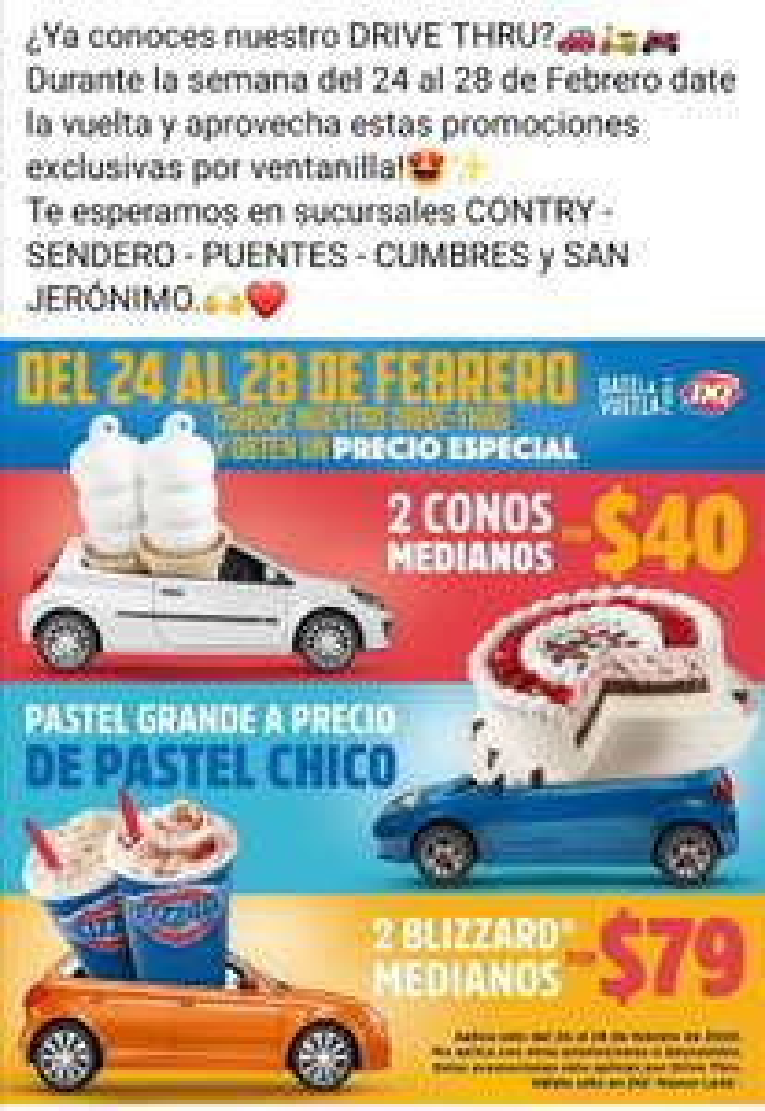 Dairy Queen: Semana de descuentos usando drive thru solo Nuevo León