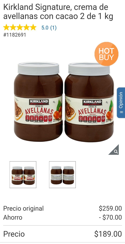 Costco: Kirkland Signature, crema de avellanas con cacao 2 de 1 kg