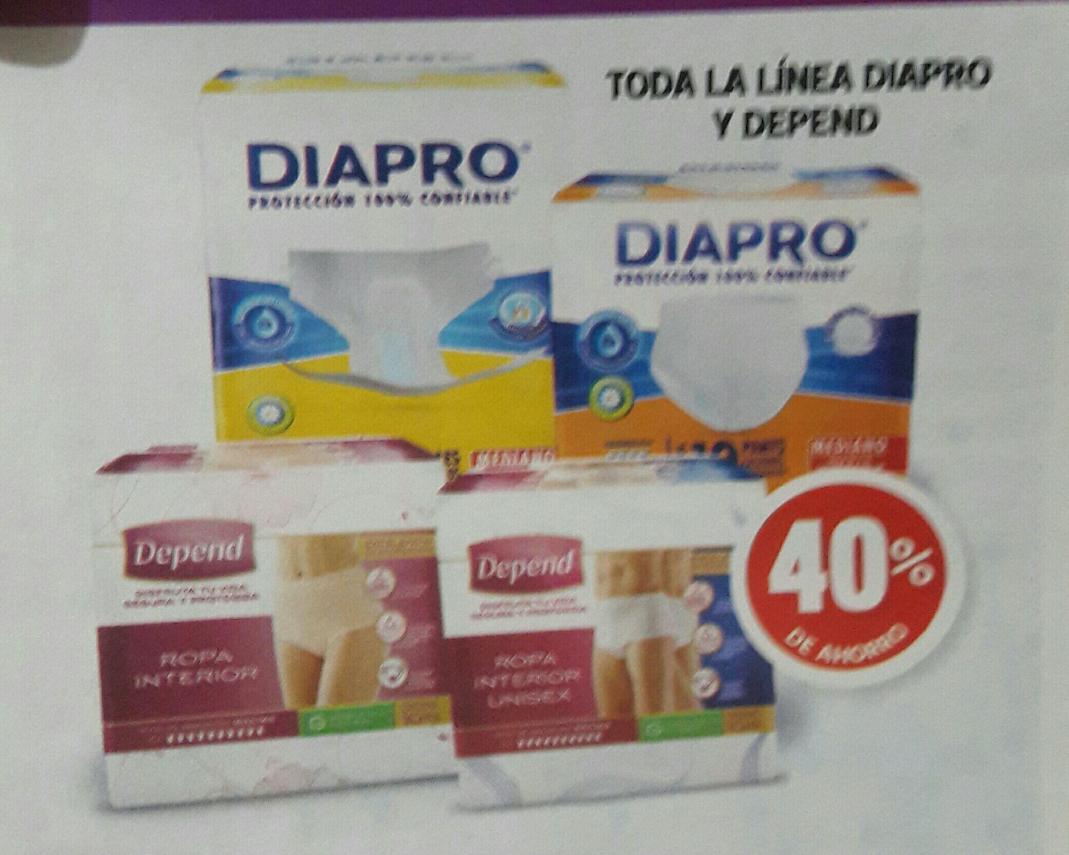 Farmacias guadalajara tiene los pañales para adulto Diapro y Depend