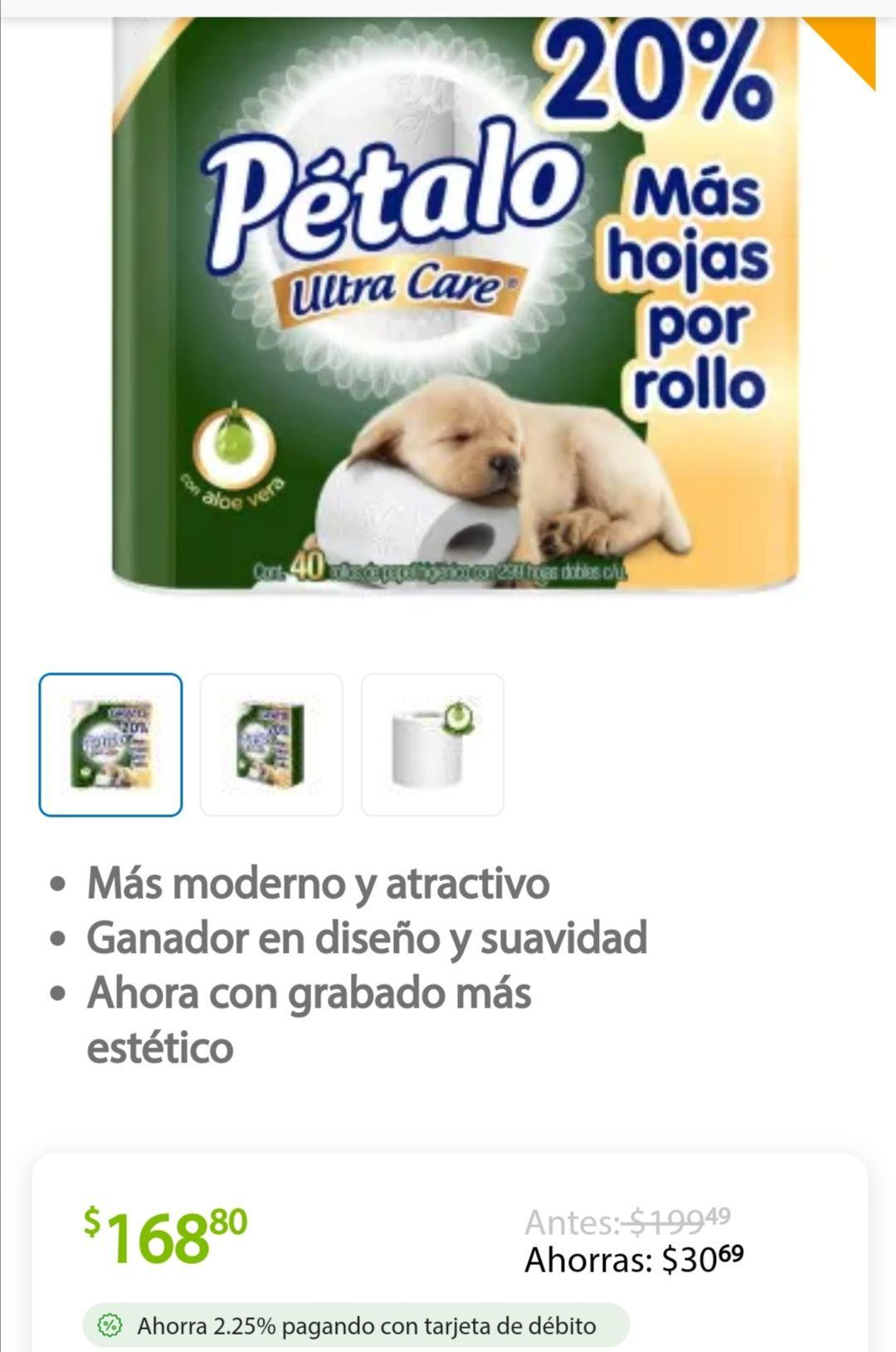 Sam's Club: Papel Higiénico pétalo Ultra Care 40 rollos de 199 a 168