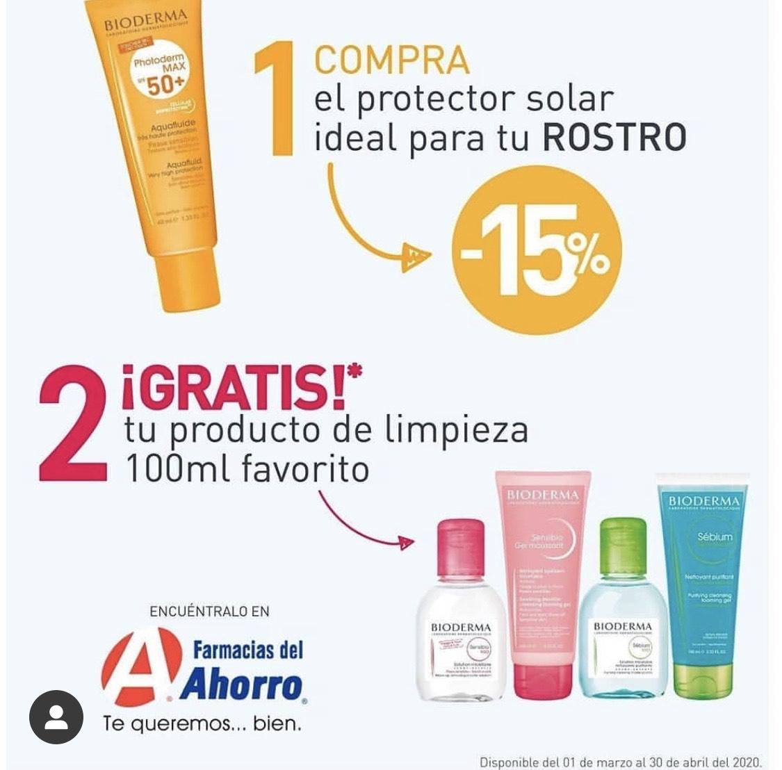 Farmacias del ahorro: Protector Solar Bioderma -15% y Gratis un producto Bioderma