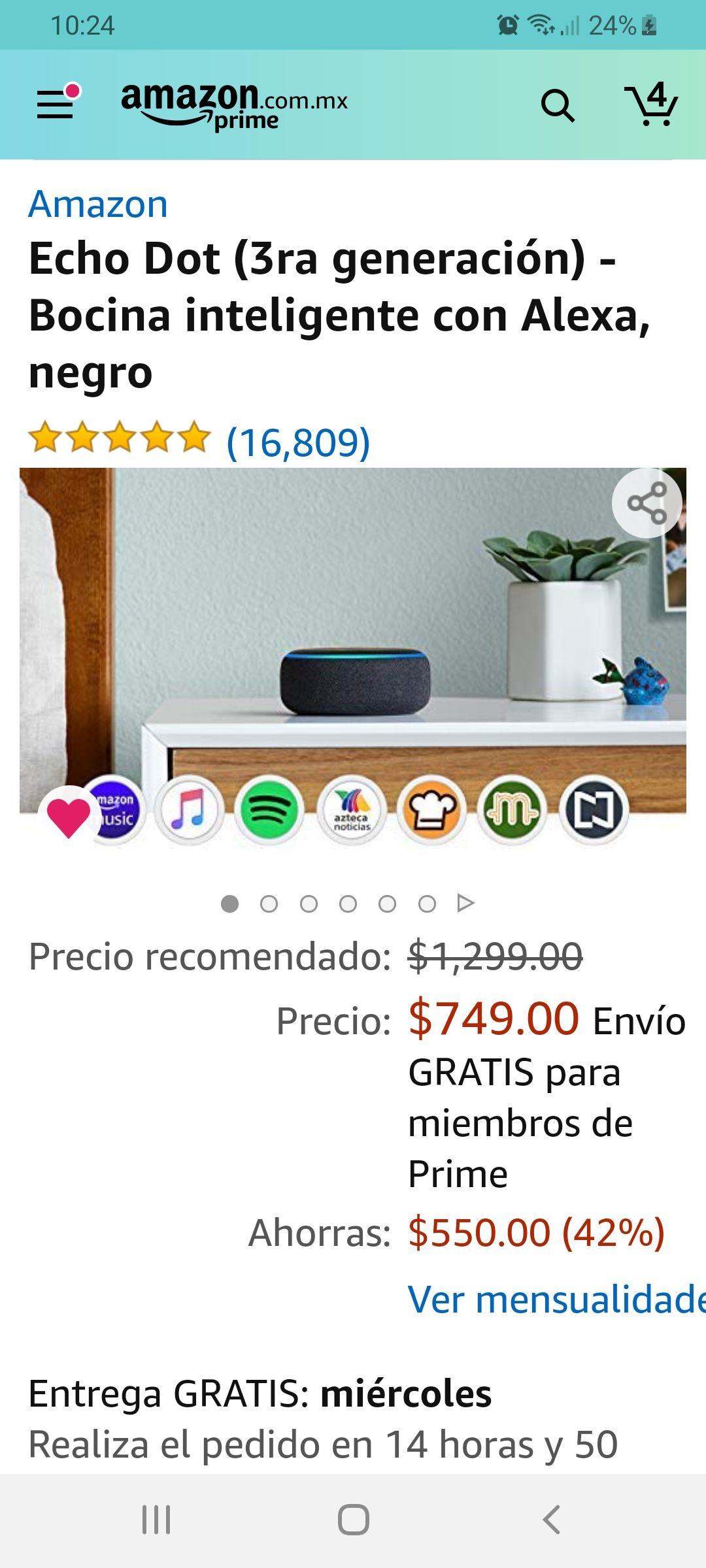 Amazon: Echo dot 3 alexa 749