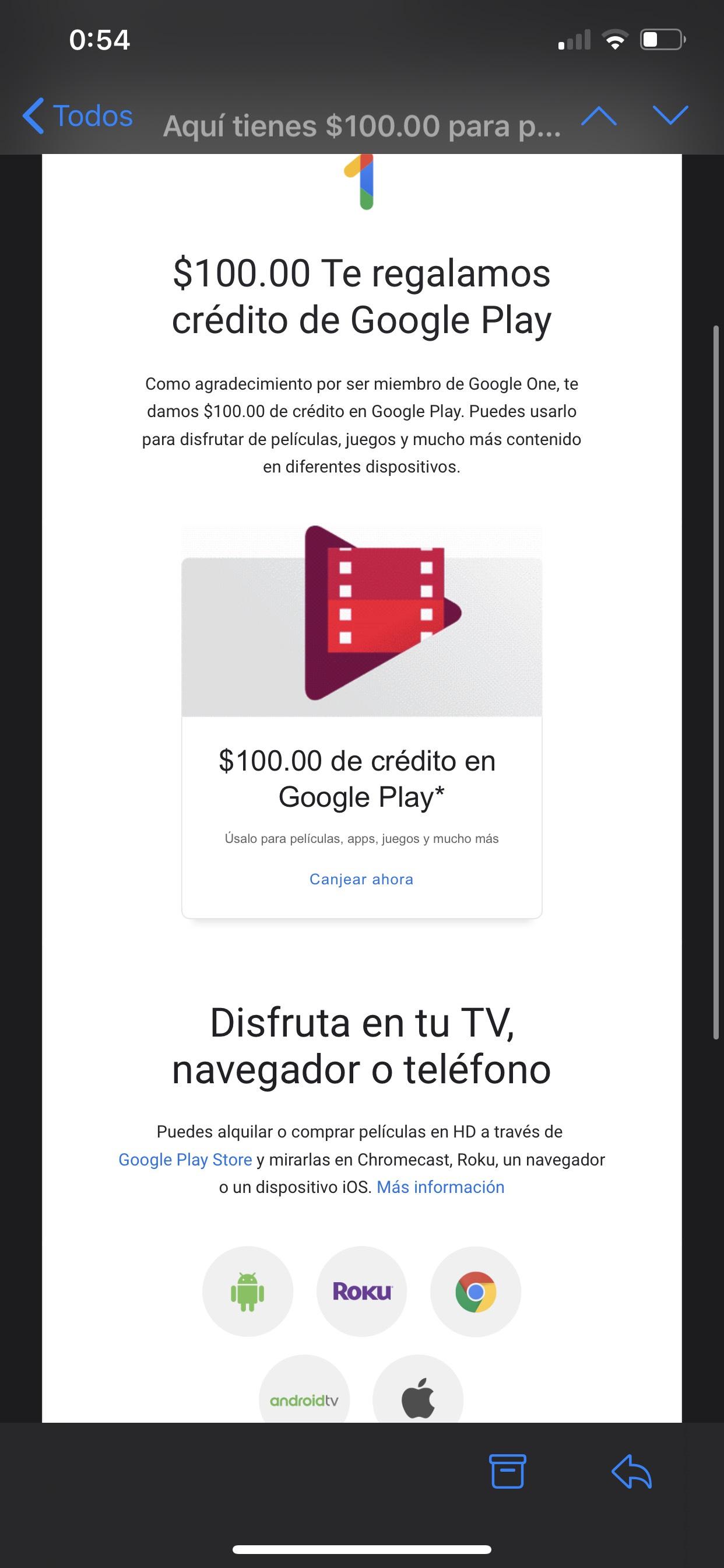 Google Play regala $100 a miembros de Google One