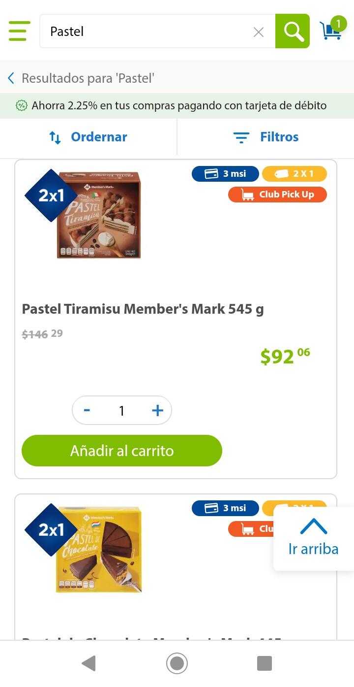 Sam's Club: Pastel Member's Mark de Tiramusi o Chocolate al 2x1