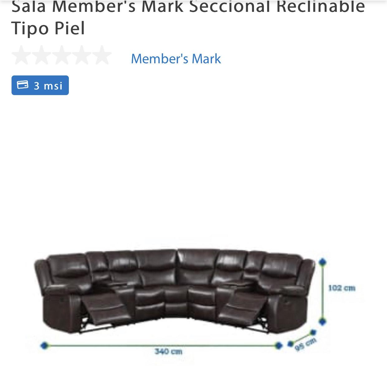 Sam's Club: Sala Member's Mark Seccional Reclinable Tipo Piel