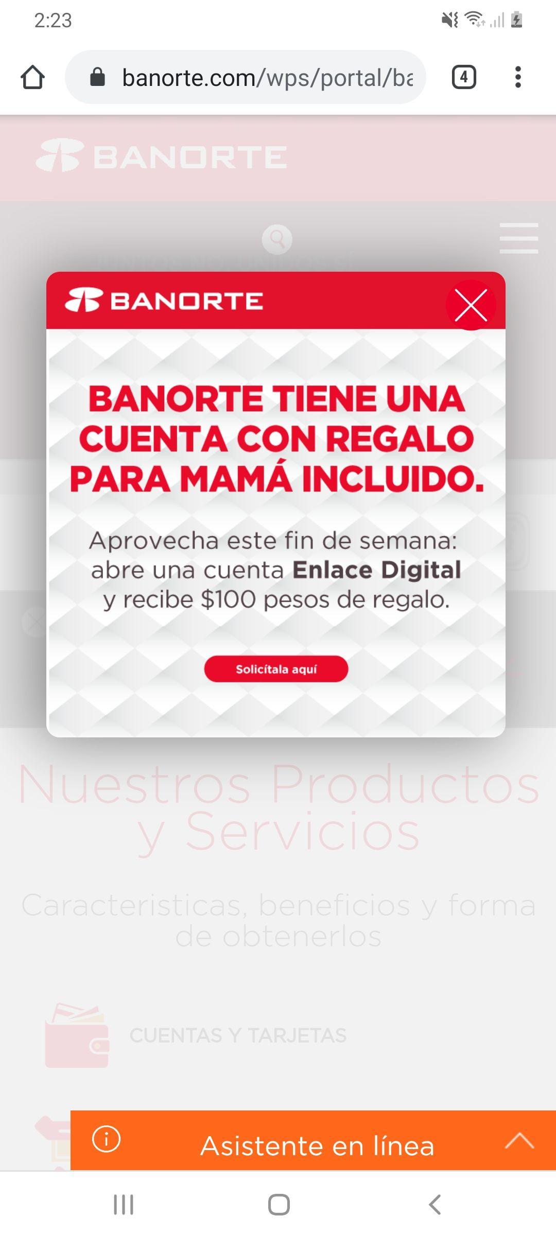 Banorte: abre cuenta enlace digital Banorte y te regala 100 pesos