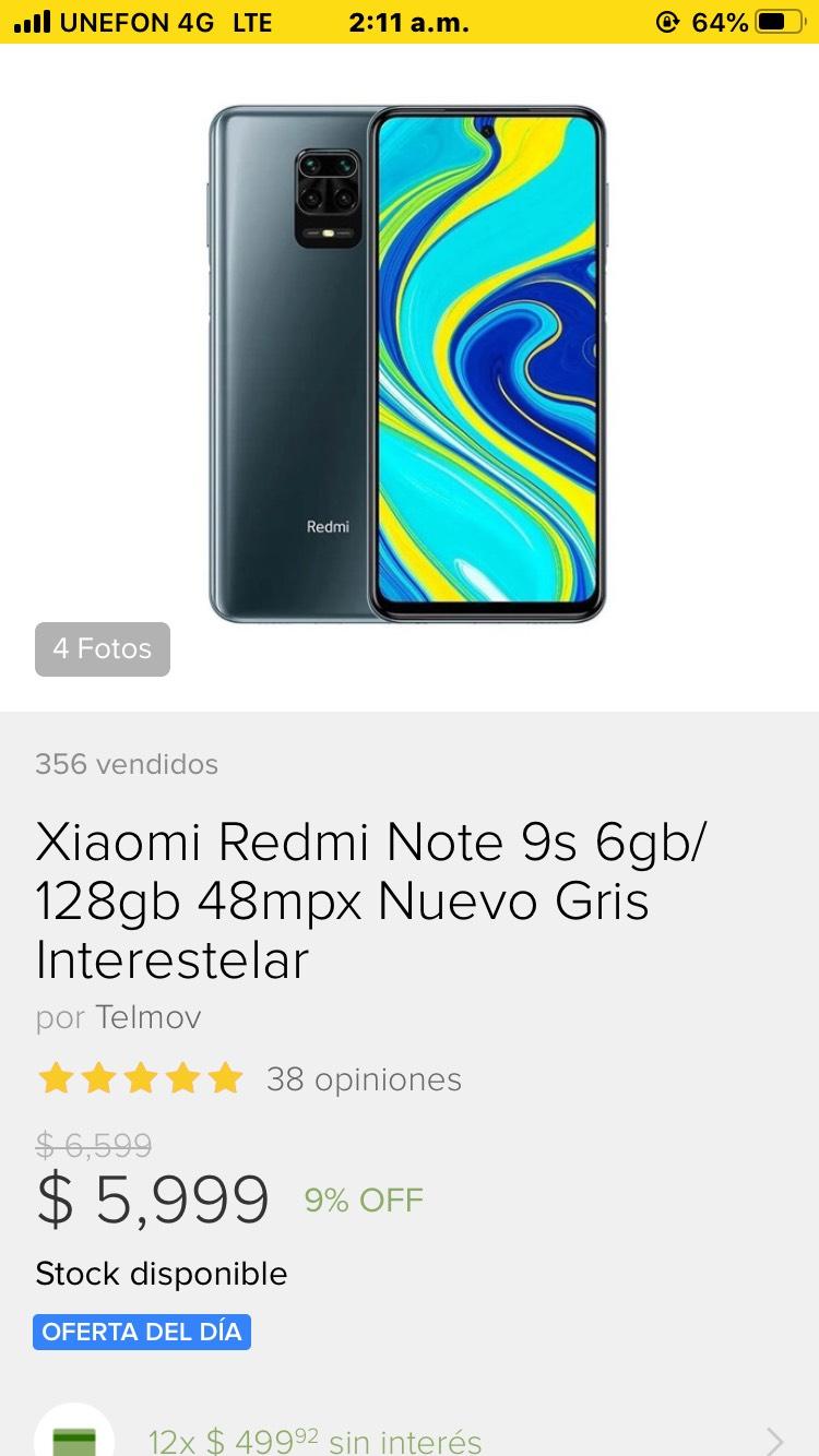 Tienda Oficial Telmov en Mercado Libre: Xiaomi Redmi Note 9s 6gb/128gb 48mpx Nuevo Gris Interestelar
