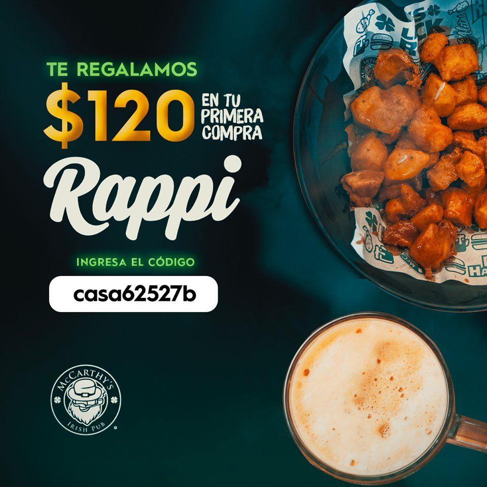 Rappi y Mccarthy's recibe $120 pesos para tu primer pedido en McCarthy's solo usuarios nuevos.