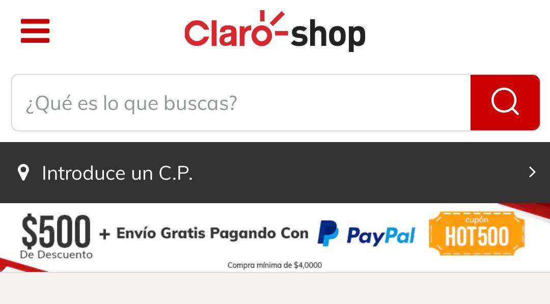 Claroshop: $500 de descuento pagando con PayPal