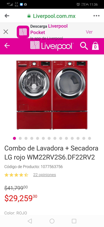 Liverpool: Combo de Lavadora + Secadora LG rojo 22k