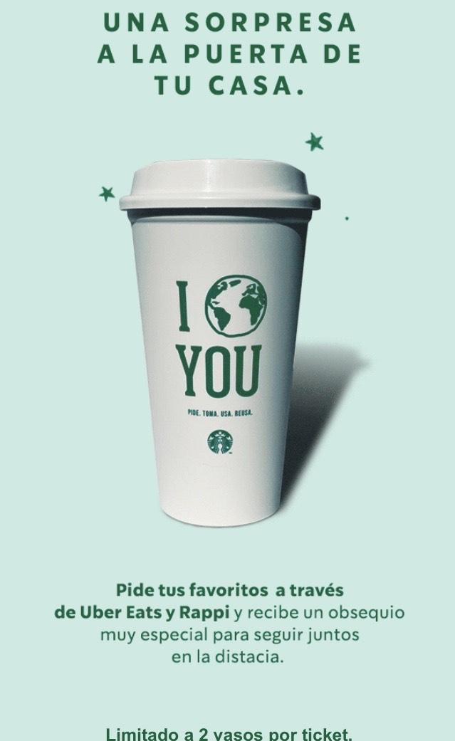 Starbucks: vaso reusable gratis al comprar bebida pidiendo en Uber Eats y Rappi