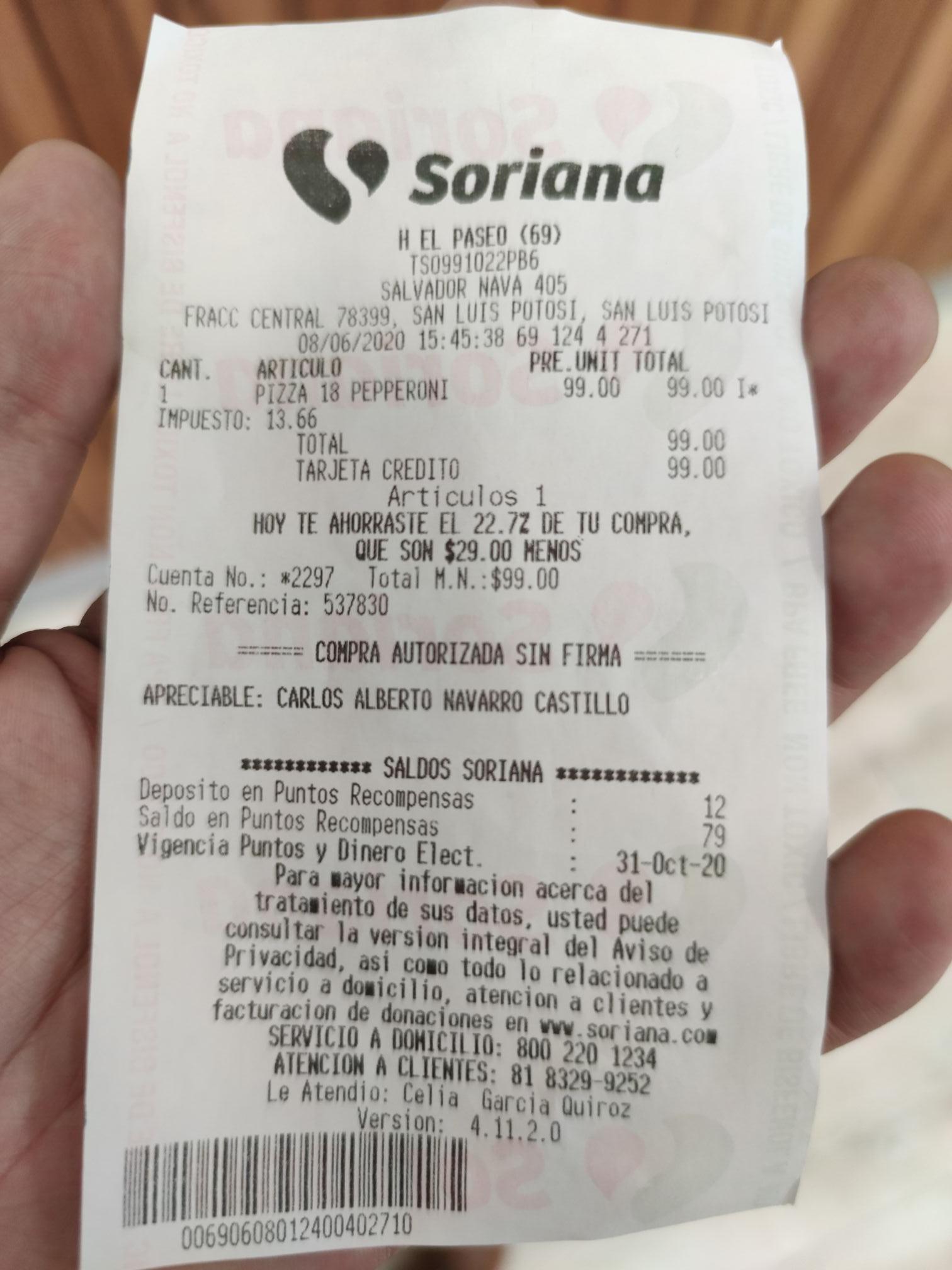 Soriana: Pizza familiar