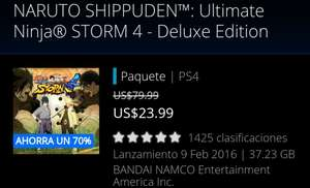 PSN NARUTO SHIPPUDEN™: Ultimate Ninja® STORM 4 - Deluxe Edition ps4
