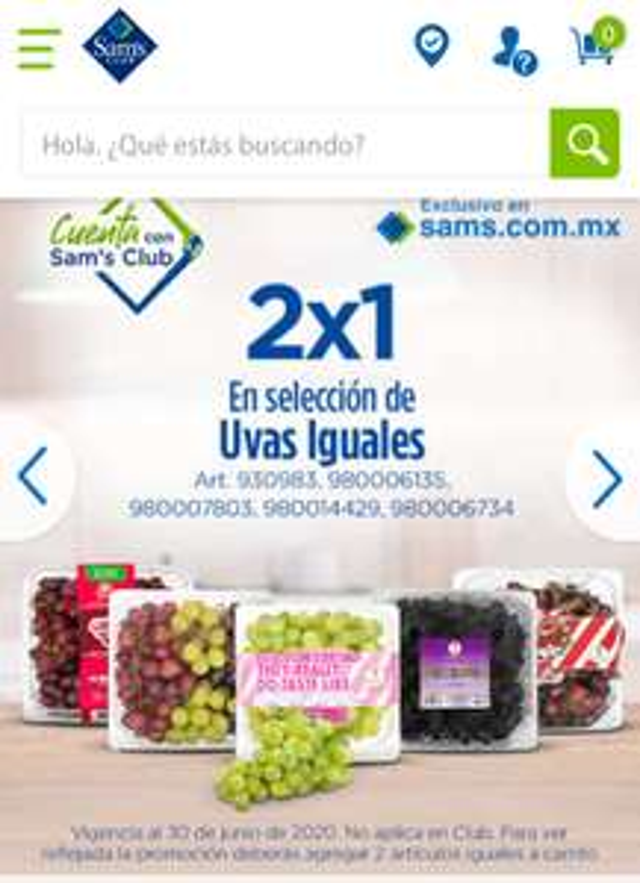 Sam's Club: 2x1 en uvas