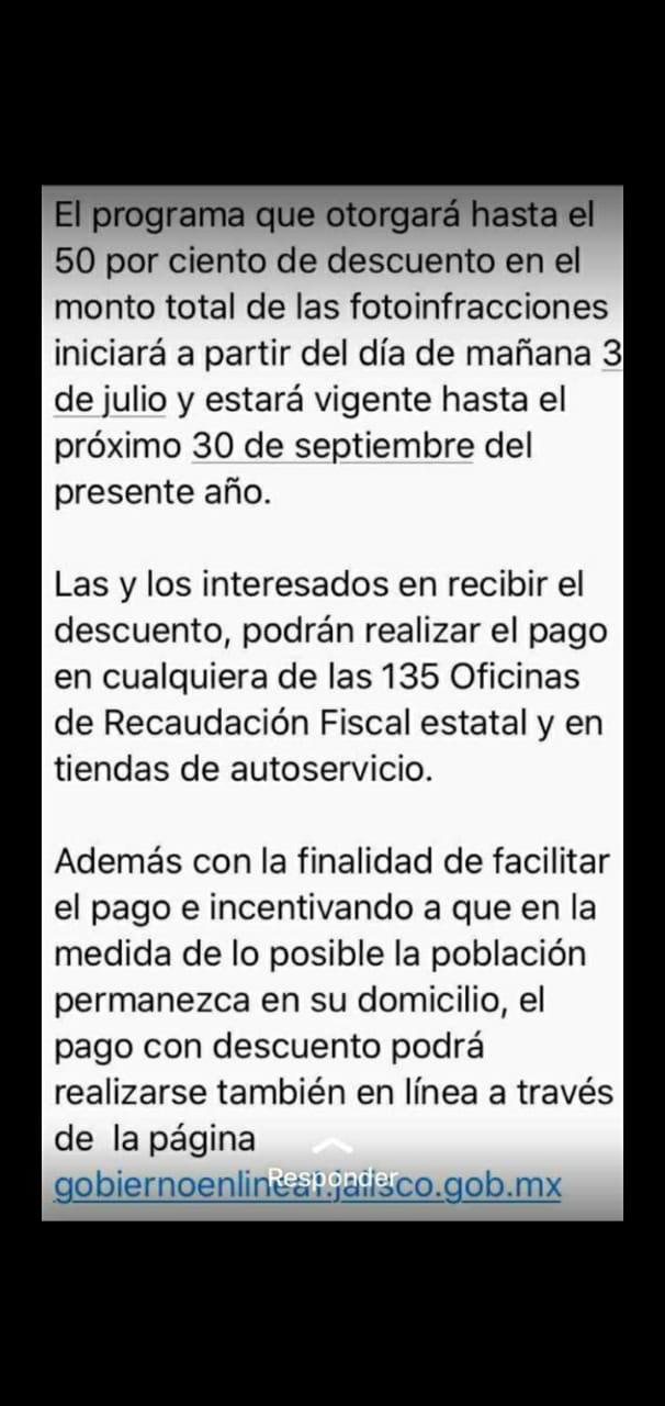 50% de descuento en Multas de tránsito, Jalisco. Y 75% de descuento las determinadas por el municipio de Zapopan.
