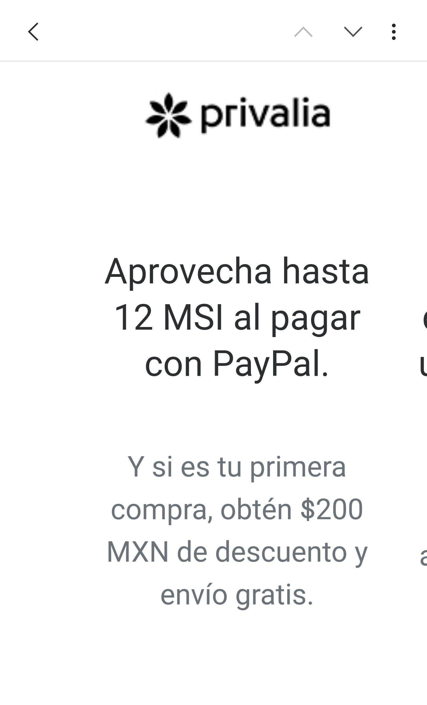 Privalia: $200 pesos de descuento pagando con PayPal y envio gratis (Nuevos usuarios)