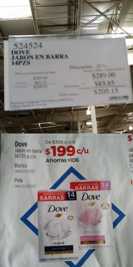 Sam's Club: Dove jabón en barra 14pzs/135g c/u por $199.00 ($14.21 por cada uno)