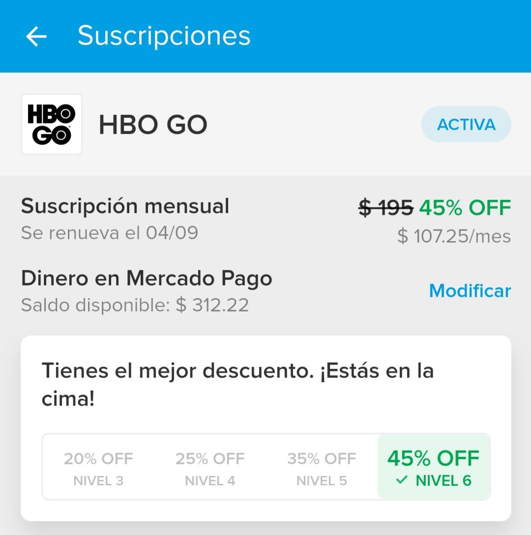Suscripción de HBO GO por Mercado Pago con descuento