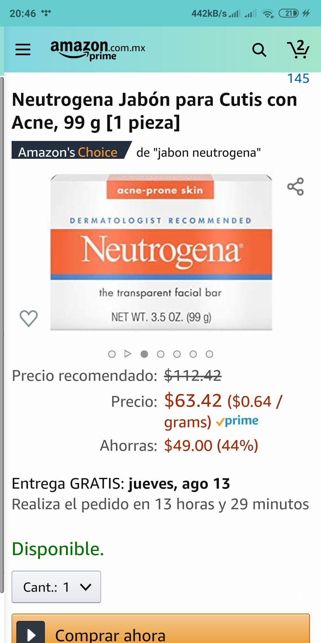 Amazon : Neutrogena Jabón para cutis con acné