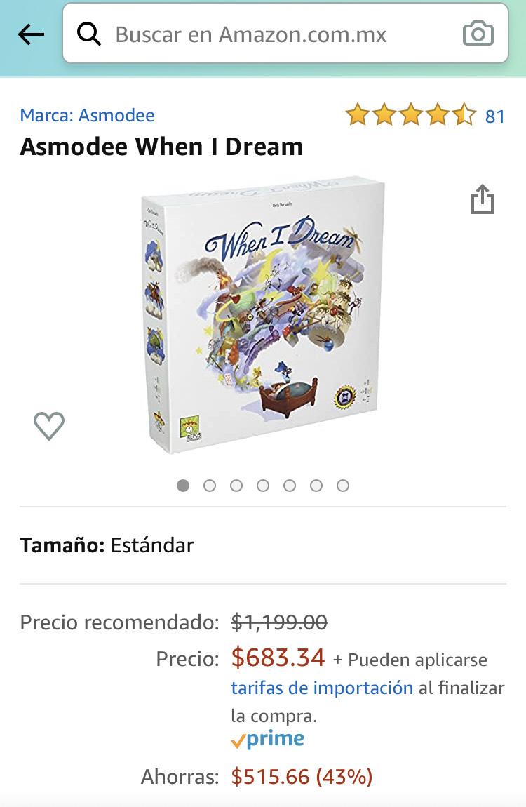 Amazon: Juego de mesa WHEN I DREAM