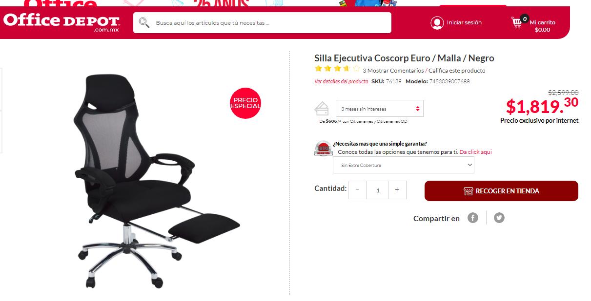 Office Depot: Silla Ejecutiva Coscorp Euro / Malla / Negro recoger en tienda sola mente