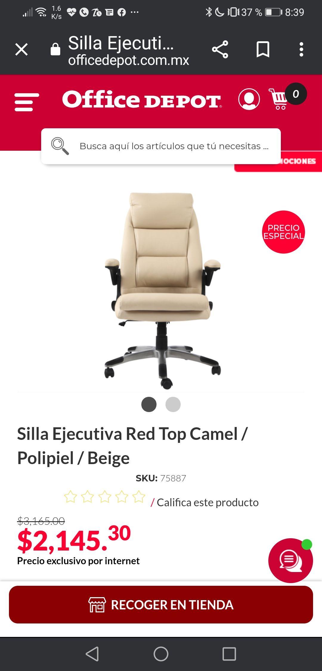 Office Depot: Silla Ejecutiva 1000 pesos más barata que la semana pasada