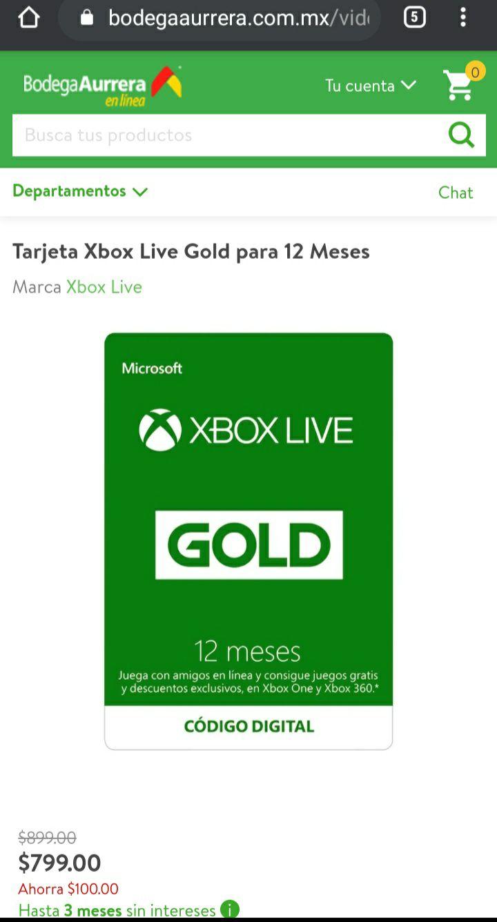 Bodega Aurrera: Xbox live gold 12 meses