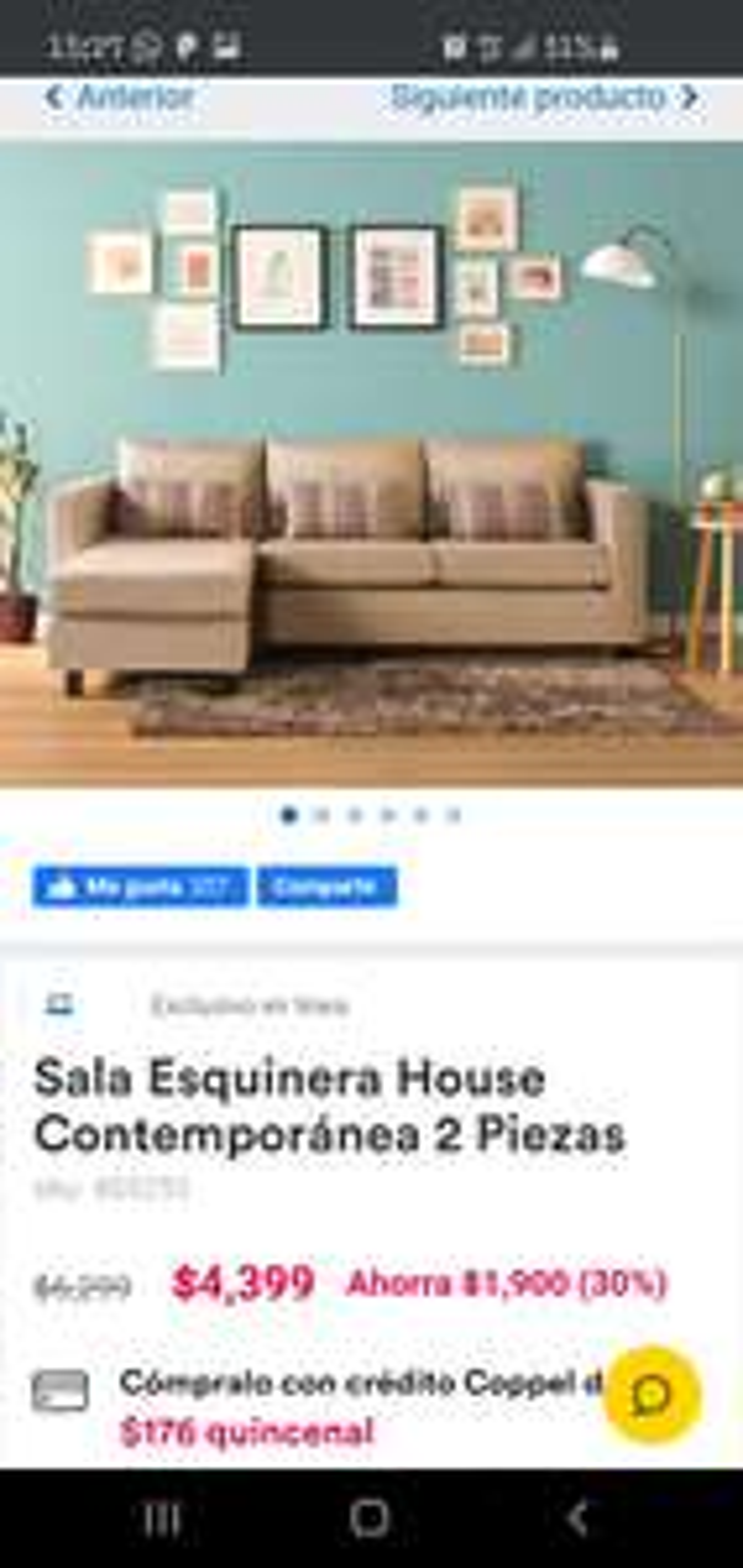 Coppel: Sala Esquinera House Contemporánea 2 Piezas