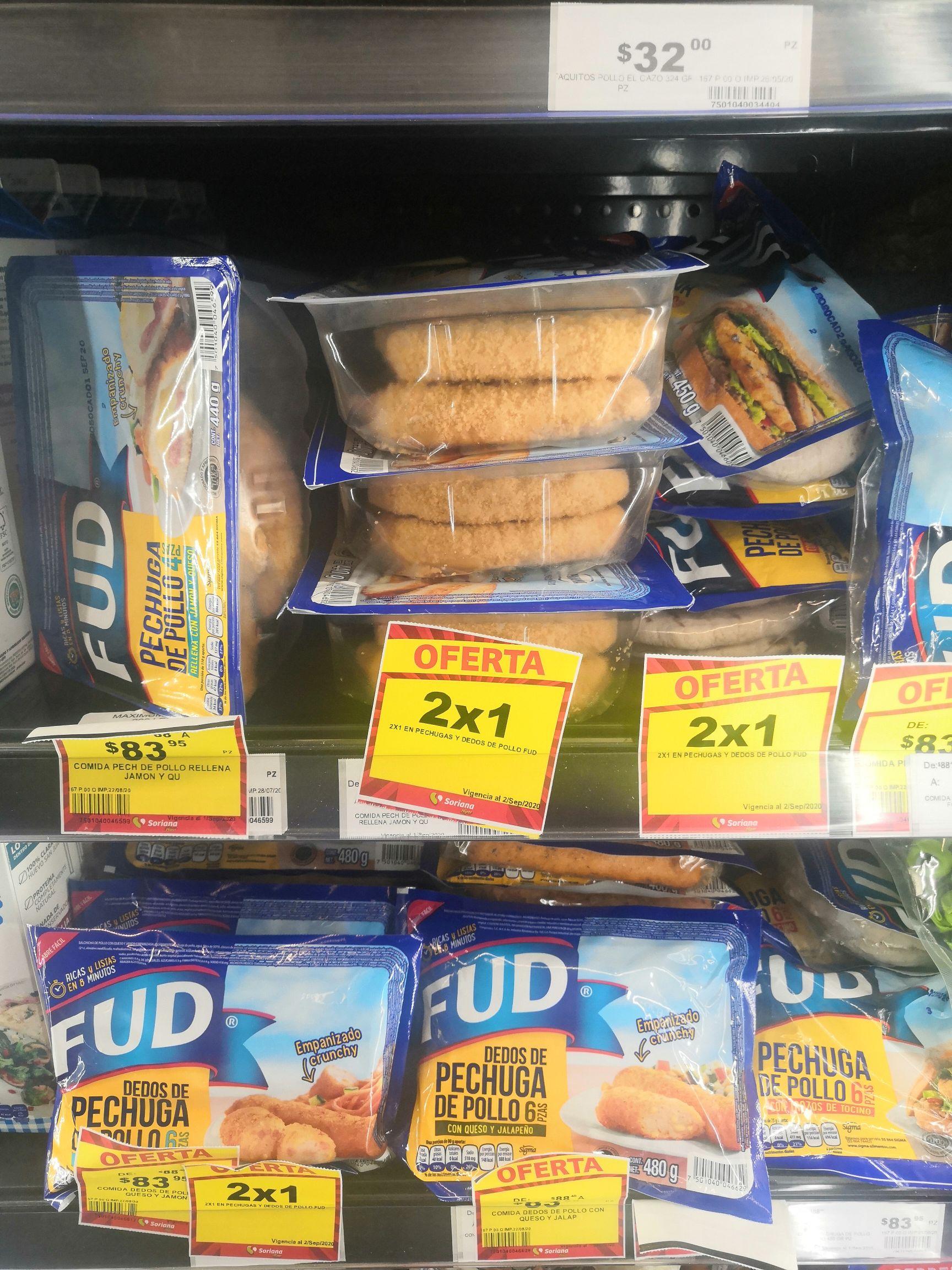 Soriana: 2 x 1 en pechugas y dedos de pollo Fud