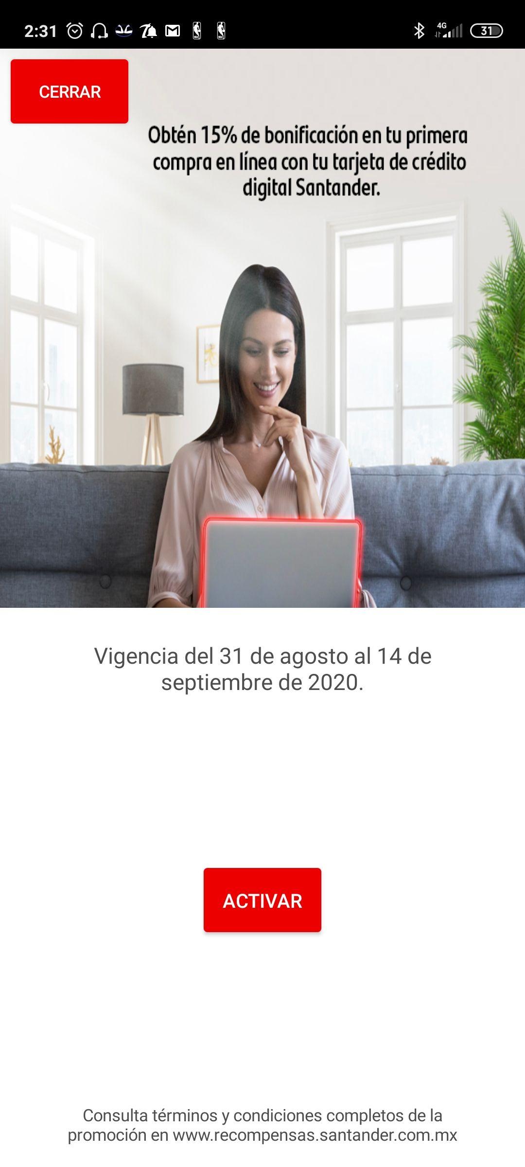 Santander: bonificación 15% primera compra tarjeta crédito digital