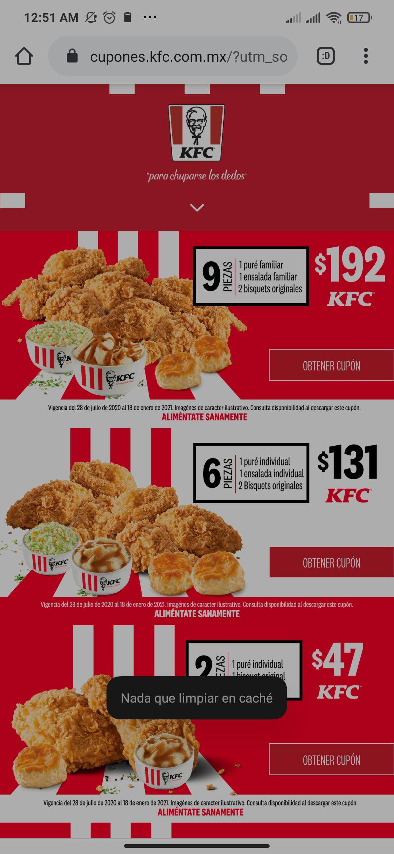 KFC: Cupones a domicilio y en tienda