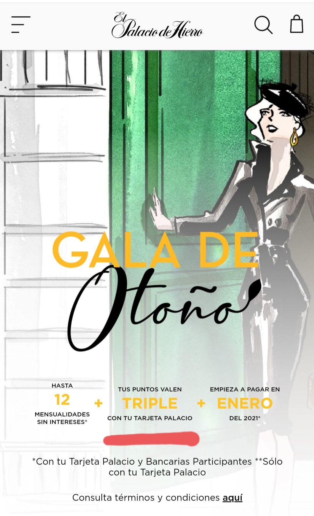 Palacio de Hierro: Puntos triples con Tarjeta Palacio