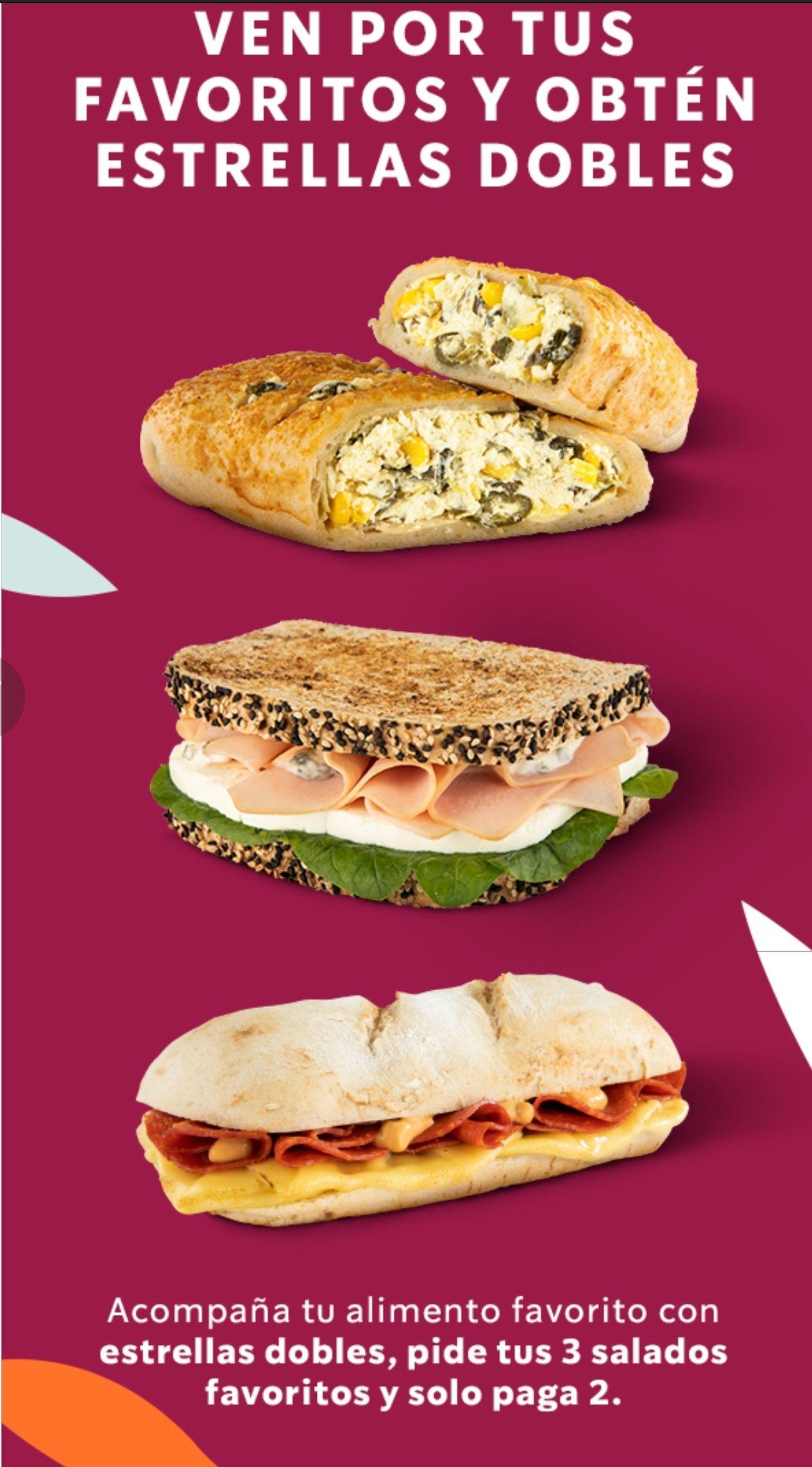 Starbucks: 3x2 en alimentos salados y estrellas dobles con Starbucks Rewards
