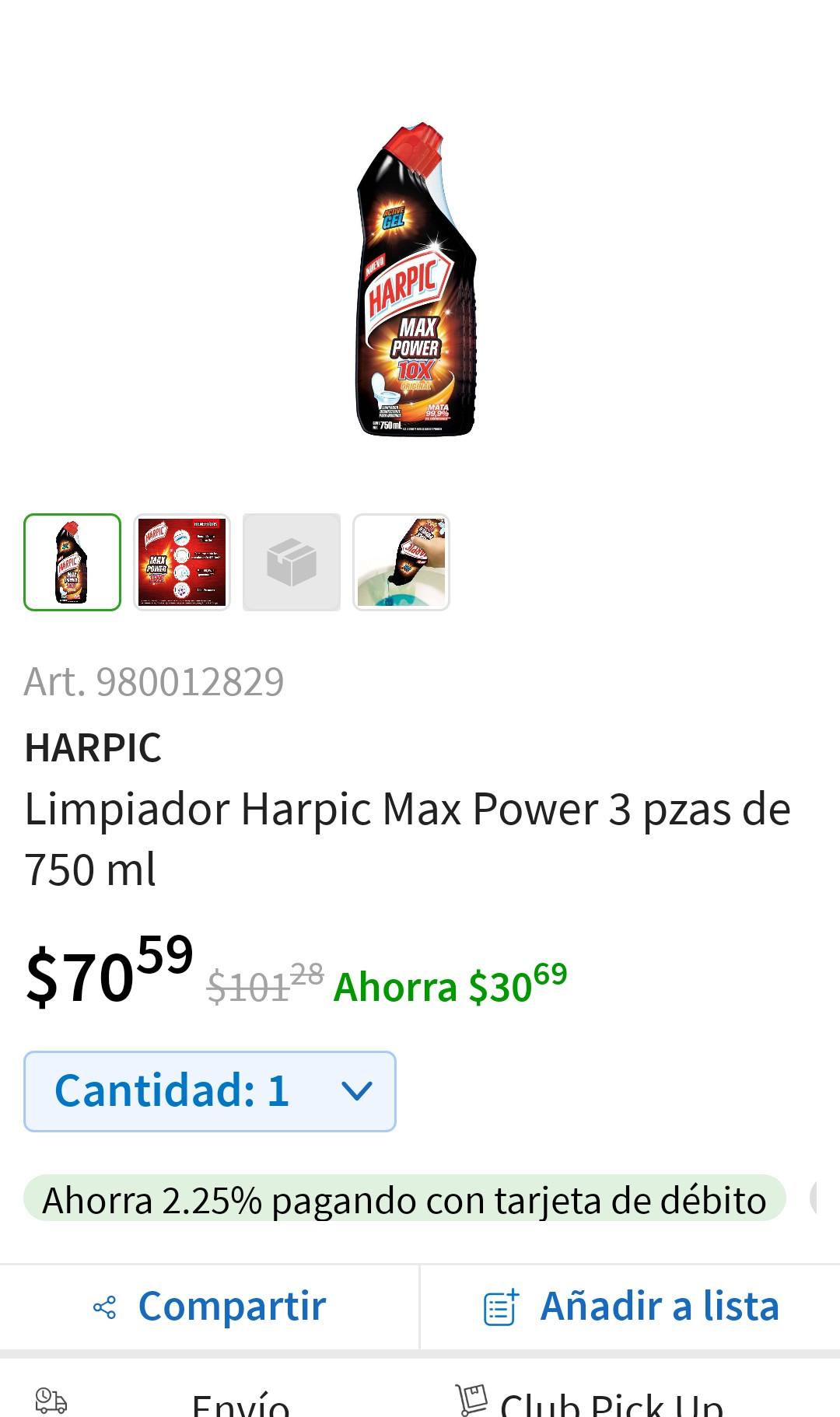 Sam's Club: HARPIC LIMPIADOR MAX POWER 3 PIEZAS 750 ml 3