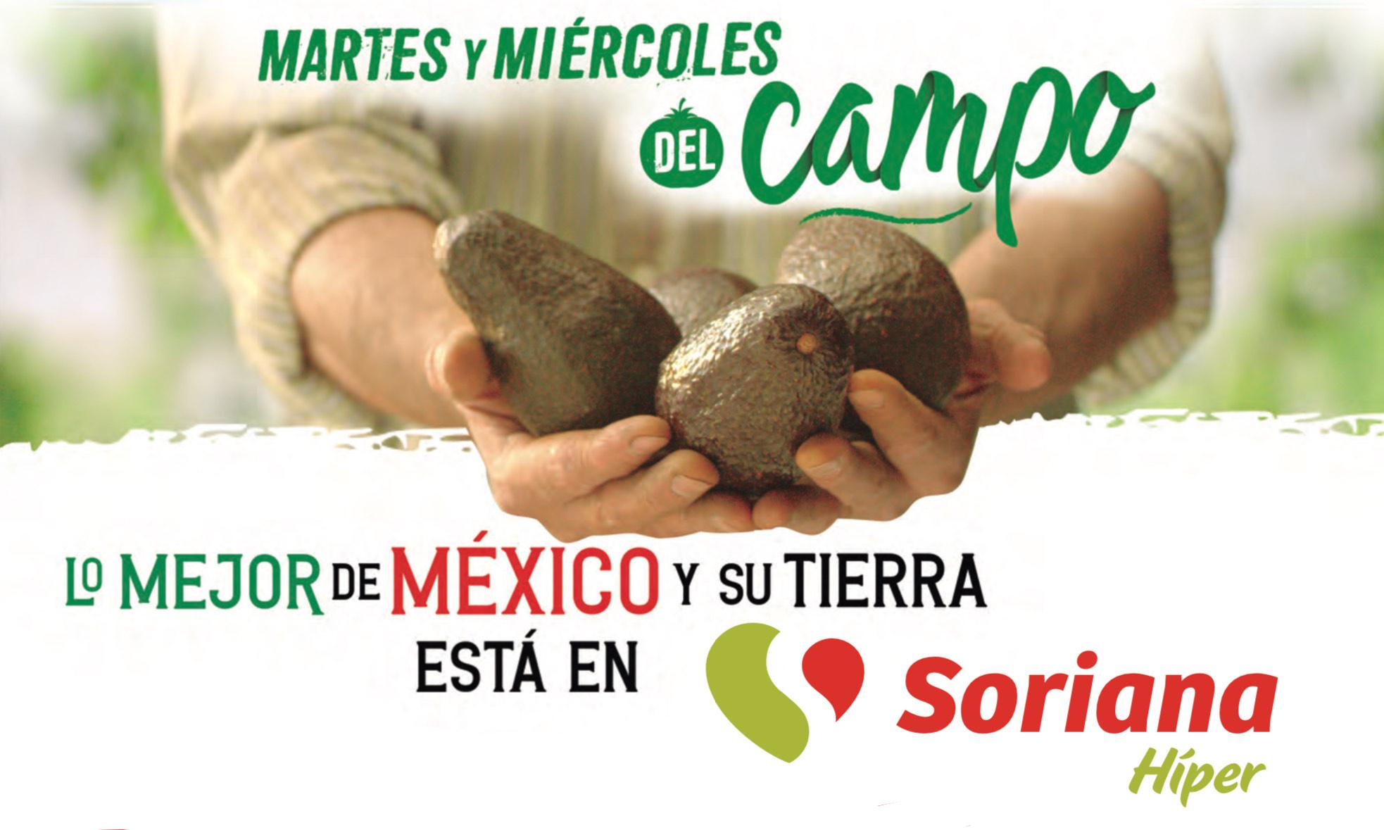 Soriana: Martes y Miércoles del Campo   Híper, Súper, Mercado y Express   Aguacate, Chile Poblano/Serrano $28.80kg, y mucho más..