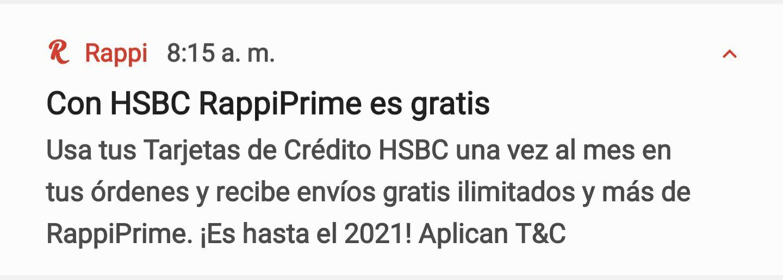 Rappi Prime gratis con HSBC