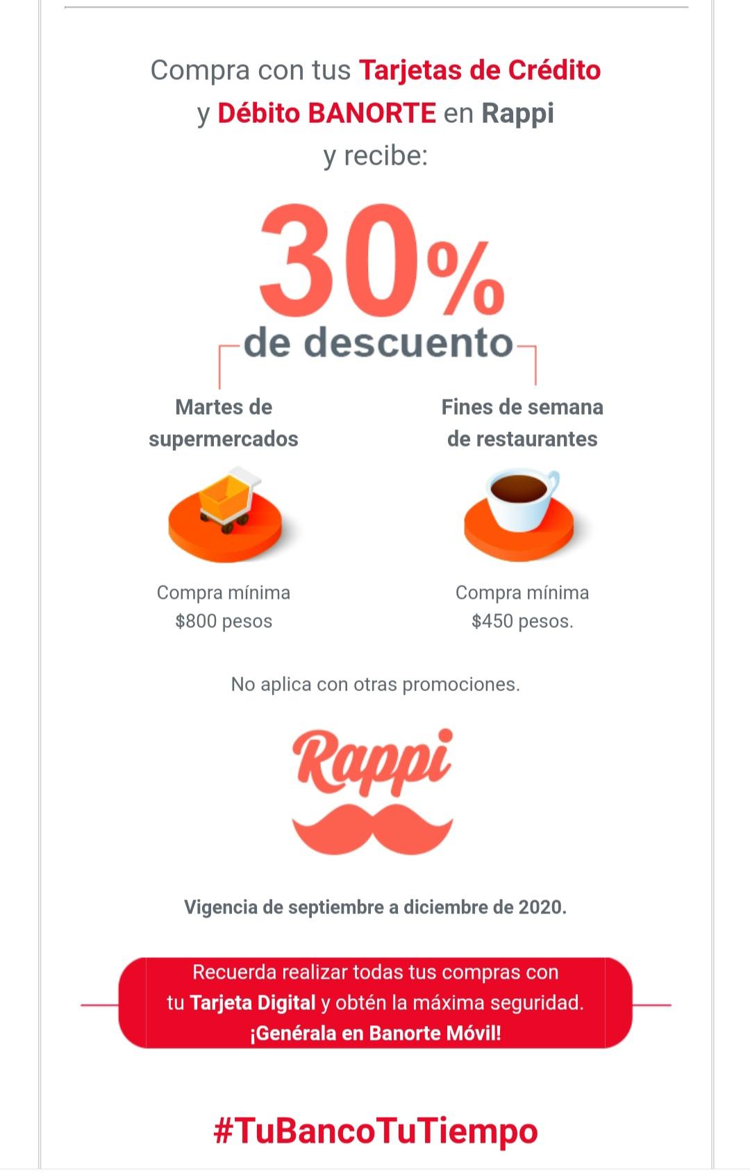 Rappi y Banorte: 30% de descuento fines de semana restaurantes